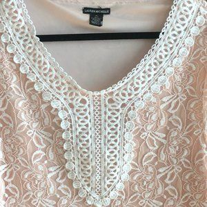 Lauren Michelle Tops - Lauren Michelle Peach Lace lined blouse size XL